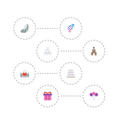 Flat icons wedding gown card building and other vector