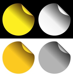 golden and silver stickers on white and black vector image vector image