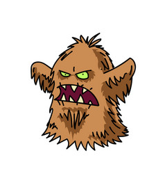 hairy monster cartoon hand drawn image vector image
