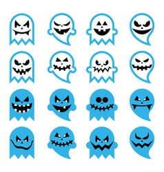 Halloween scary ghost spirit icons set vector image vector image