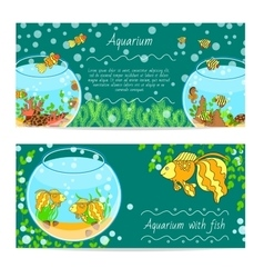 horizontal banner set with aquarium and fishes vector image