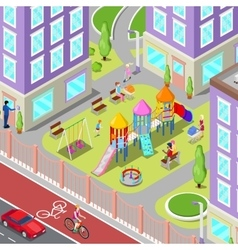 Isometric children playground in the dormitory vector