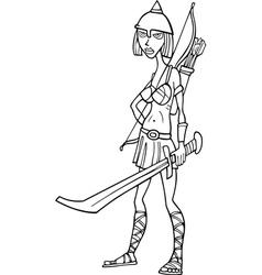 Knight woman cartoon vector image
