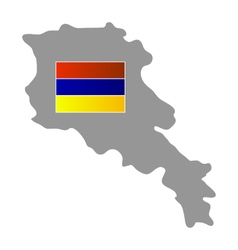 Map with flag of armenia vector