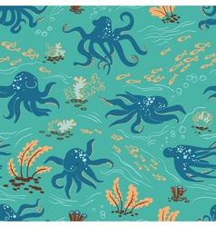 Octopus seamless vector