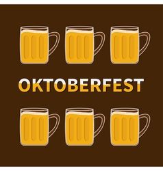 Oktoberfest six beer glass mug vector