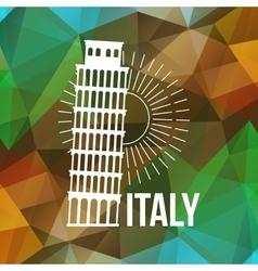 Pisa label or logo over geometric background vector