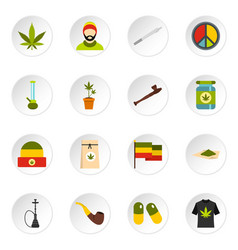 Rastafarian icons set flat style vector