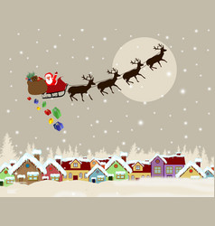 santa claus on sledge delivering christmas gifts vector image vector image
