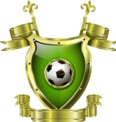 shield with soccer ball vector image vector image