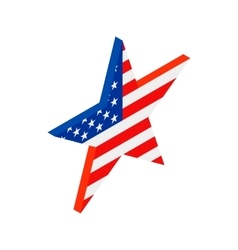 Star in the USA flag colors isometric 3d icon vector image