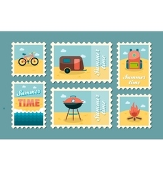 Summer camping stamp set holiday vector