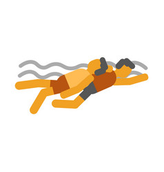 swimmer saves drowning man icon symbols vector image