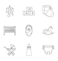 Things for baby icons set outline style vector