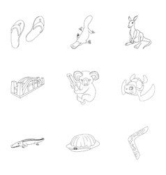 Tourism in Australia icons set outline style vector image