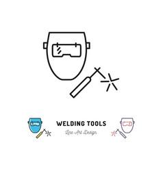 welding tools icon welding machine and welder vector image vector image