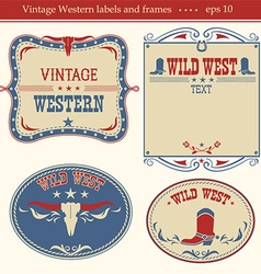 Western labels symbols and boards for text vector image