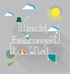 World environment day with eco and nature concept vector