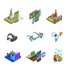 Augmented reality isometric icons set vector