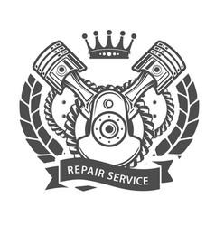 auto repair service emblem - symbolic engine vector image