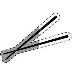Chopstick japanese cutlery icon vector