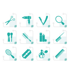 Stylized cosmetic make up and hairdressing icons vector