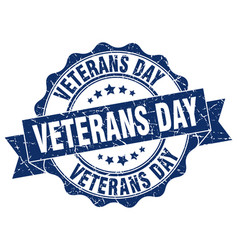 Veterans day stamp sign seal vector