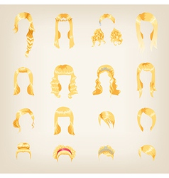 Assortment of female blond hair vector