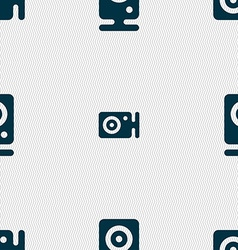 Web cam icon sign seamless pattern with geometric vector