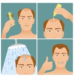 Set with hair treatment to prevent hair falling vector