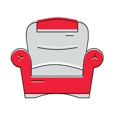 Red comfortable armchair logo or icon vector