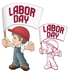 Labor day cartoon worker vector