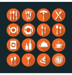 Orange restaurant icons set vector