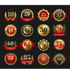 Anniversary golden signs set vector