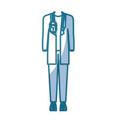 Blue silhouette shading of male doctor clothing vector