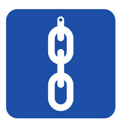 blue white sign - hanging chain with hole icon vector image vector image