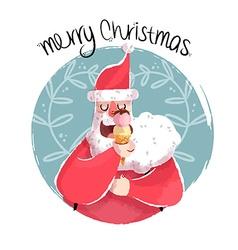 Christmas of fun santa with ice cream vector
