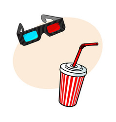 cinema objects - 3d glasses and soda water in vector image vector image
