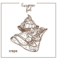 Crepe pancake sketch icon for european french food vector