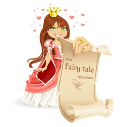 Cute brown haired Princess with banner vector image vector image