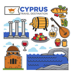 Cyprus travel destination promotional poster with vector
