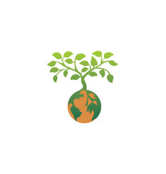 Earth plant tree nature logo vector