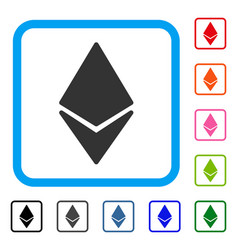 Ethereum framed icon vector
