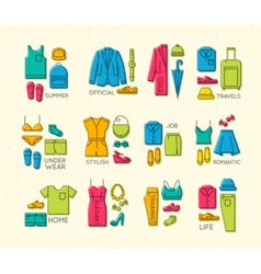 Flat clothes complect icons color vector image