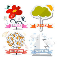 Four Seasons Symbols Isolated on White Background vector image vector image
