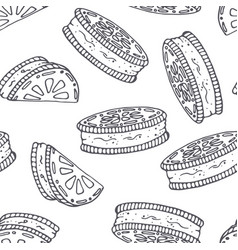 hand drawn outline seamless pattern with cookie vector image vector image