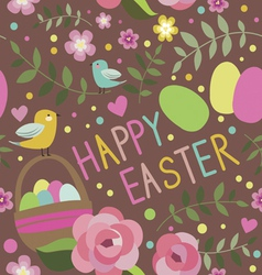 Happy Easter seamless print with backet vector image vector image