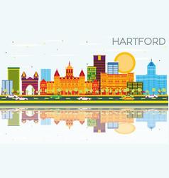 Hartford skyline with color buildings blue sky vector