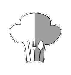 hat chef cook fork spoon knife restaurant emblem vector image