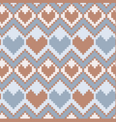 Pixel hearts seamless pattern vector